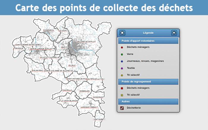 Carte des points de collecte des déchets en Grand-Villeneuvois