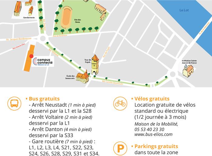 Plan d'accès au campus connecté de Villeneuve-sur-Lot